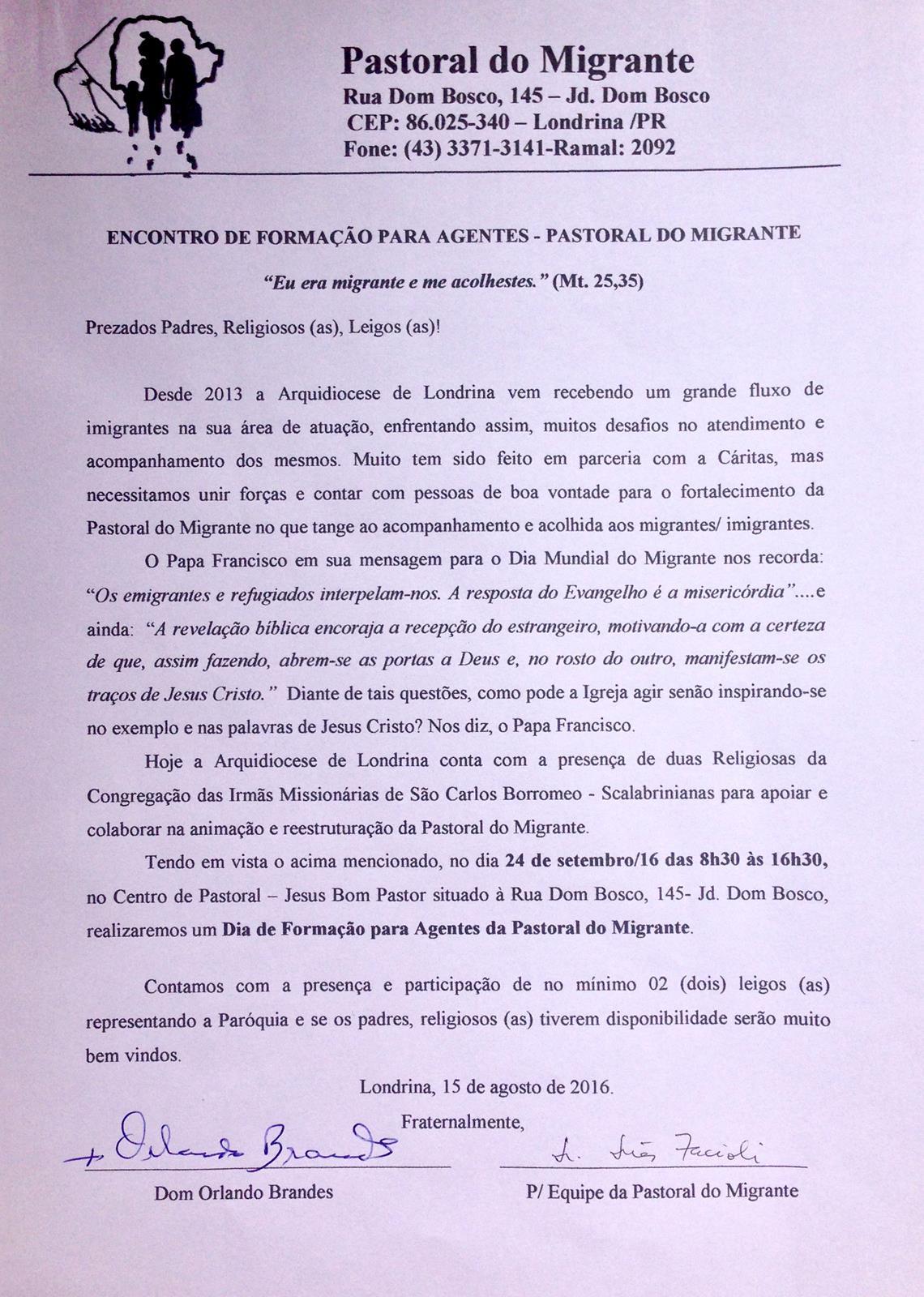 carta convite pastoral migrante