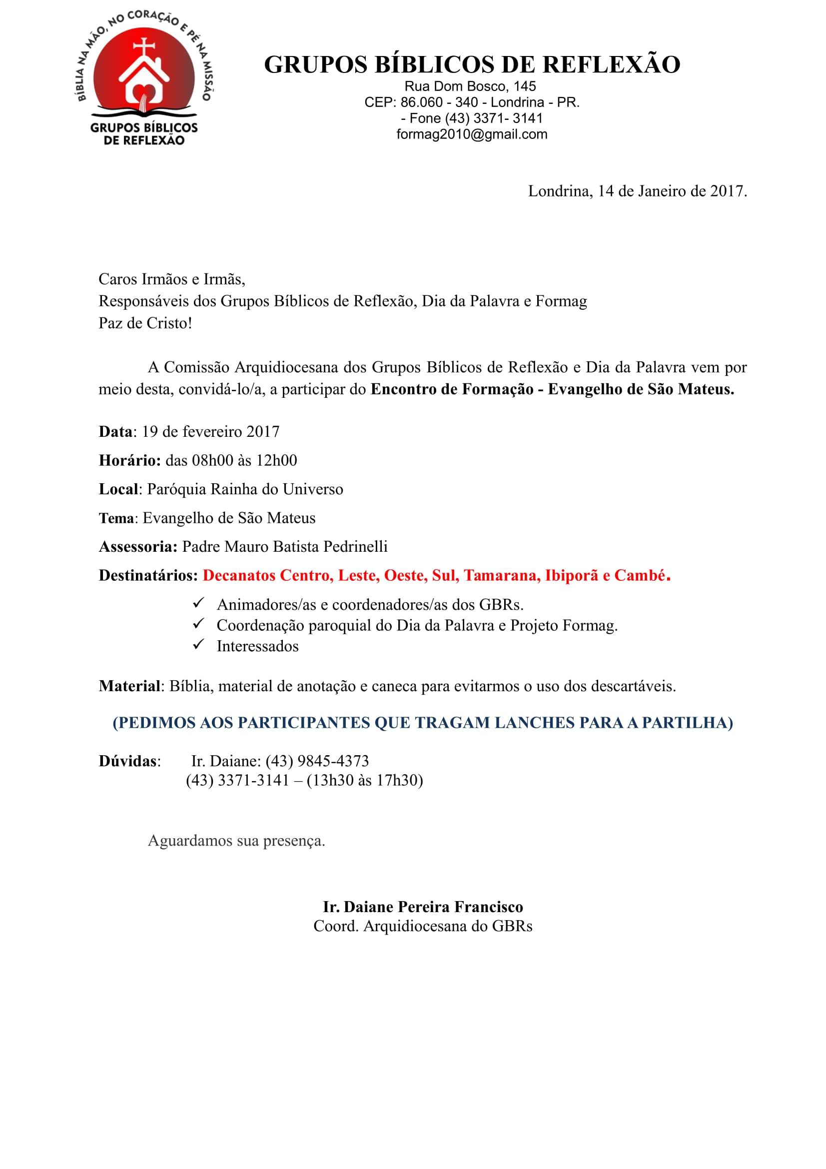 Carta-Convite - Evangelho de Mateus - Londrina.-1