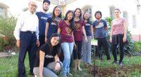 Circulistas e padre Lino plantam a árvore missionária da juventude, gesto concreto do 2º Retiro Decanal das SMP Jovem