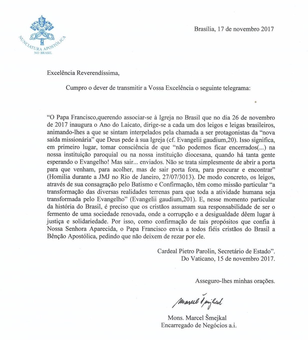 papa carta ano laicato